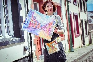 One of the artists at Painting Padiham 2019