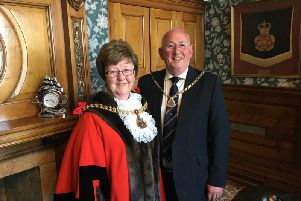 Mayor of Burnley Coun. Anne Kelly with her consort, husband John,
