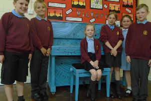 The newly decorated piano has hit all the right notes with pupils Jack Boothman, Adam Burton, Mia Bury-Bailey, Skye Heald, Lila Ashworth and Harry Brown.