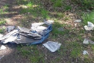 Asbestos was dumped at the side of a Worksop road