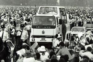The Leyland-made Popemobile in 1982 for Pope John Paul II's visit to Lancashire