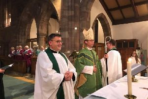 Fr Alex Frost (left), vicar at St Matthew's Church, next to the Bishop of Burnley, Philip North. (s)