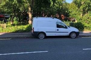 A van is parked in a gap in the yellow lines on Tulketh Road.