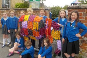 Pupils at Bishop Wilton School took part in this year's Scarecrow Festival by making Elmer the Elephant.