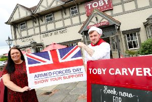 Toby Carvery Armed Forces Day 2019 campaign. Pictured are Hannah Roper (General Manager), Phill Mills (Head Chef), and Casey Tromans (Front of house staff).  Picture by Shaun Fellows / Shine Pix Ltd'. Picture by Shaun Fellows / Shine Pix.