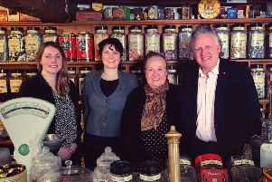The sweet shop team with author Penny Thorpe for the TV show The Wonderful World of Chocolate.