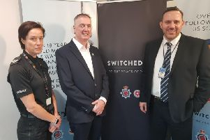 Assistant Chief Constable Jo Edwards, Lancashire's Police and Crime Commissioner Clive Grunshaw and Ian Billsborough of Lancashire Constabulary at the launch of the force's new Digital Investigations department