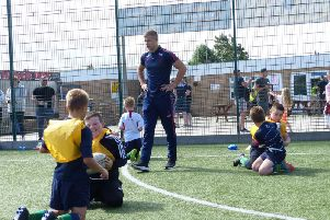 Harry Rushton coaches the Under-9s at Fleetwood RUFC