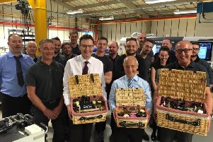 The Riggs team with the hampers