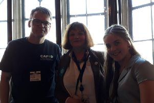 Dominic and Madeleine Aunger with Burnley MP Julie Cooper