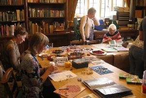 A craft afternoon at Gawthorpe Hall in full flow.