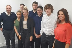Growth Key: MD James Howard (left) and HR director Vikki Oakley (right) with some of the apprentices.