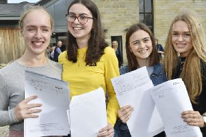 Josie Ranson-Hayes, AAB, Emma Scaife A* BD, Kate Lonsdale ABB, Charlotte Daly, ABD. Picture: Steve Riding.