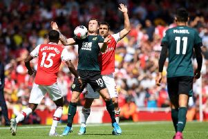 Burnley forward Ashley Barnes in action against Arsenal at the Emirates
