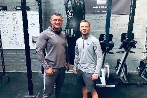 Strength and conditioning coach Colin McCash (left) with boxer Joshua Holmes