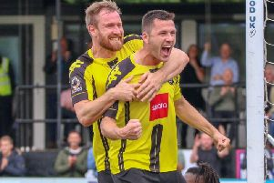 Kelvin Langmead and Aaron Williams scored the goals the last time Harrogate Town played Dover Athletic at the CNG Stadium. Picture: Matt Kirkham
