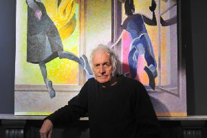 60s legend Dudley Edwards with his latest exhibition at RedHouse Originals Gallery in Harrogate. (Picture Gerard Binks)