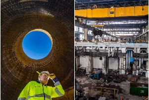 Andrew Kirk, top, safety manager for Keltbray, inside one of the cooling towers at Ferrybridge Power Station.