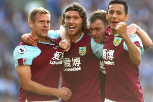 Matej Vydra, Jeff Hendrick, Ashley Barnes and Dwight McNeil celebrate the equaliser at Brighton