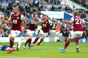 Jeff Hendrick scores Burnley's late equaliser against Brighton at the Amex Stadium