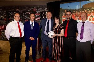 Scarborough Ladies receive their Grassroots Club of the Year Award at the 2019 Football Awards at the Riverside