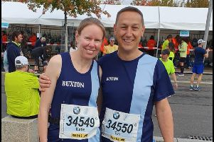 Katie and Tim Rolfe, of Buxton Athletic Club, at the Berlin Marathon.
