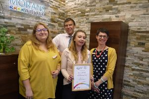 The Morans team with their certificate. Pictured from left: Natalia Krasowska, Lawrence Moran, Mel Redfern and Hannah Coram.