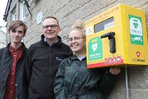 New Defibrilator at Great Rocks Club, Kerry Naden, Paul Dobson and Jensen Schofield