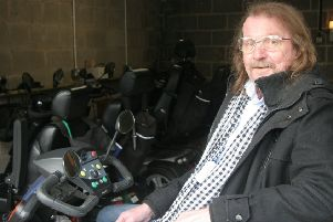 John Wild who has finally been able to get into the garage and use his mobility scooter.