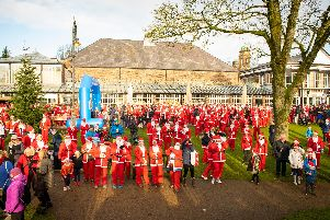 The sun shone on joggers donned in Santa suits in Buxton.