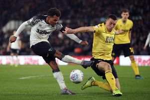 Duane Holmes sees a cross blocked in Saturday's defeat to Millwall.