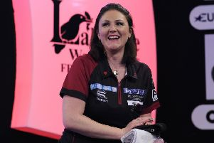 CAMBERLEY, ENGLAND - JANUARY 11: Lorraine Winstanley of England celebrates after winning her semi-final match against Anastasia Dobromyslova of Russia during Day Seven of the BDO World Darts Championship at Lakeside Country Club on January 11, 2019 in Camberley, England. (Photo by Alex Burstow/Getty Images)