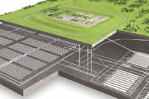 An artist impression of what a Geological Disposal Facility (GDF) could look like above and below ground.