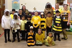 StPhilip's CE Primary School was swarming with children dressed as bees for World Book Day. (s)