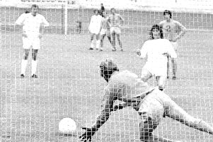 Alex Smith saves a penalty from Man Utd's Willie Morgan. Photo: Johnny Meynell.