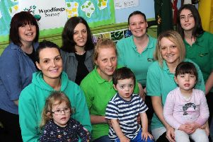 Staff at the Woodlings Nursery, in Buxton, are all smiles after receiving a good Ofsted report, pictured with managers Vicky Willetts and Amy Fraser are the deputy manager, Christine Foster, and staff Jo Cudhay, Ellie Kebbell, Kim Bones and Kerry Watson with some of the youngsters who attend the unit on Macclesfield Old Road.