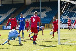 Josh Staunton scores for Halifax against Bromley last Saturday