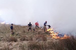 Firefighters tackling the moorland blaze at Lyme Park in Disley. Photo: Cheshire Fire & Rescue Service.