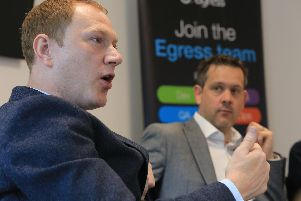 Co-founders Tony Pepper, left, and Neil Larkins at Egress new office in Sheffield.