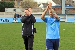 Manager Andy Welsh (left) with goalscorer Tom Greaves (right). PIC: John Hirst.
