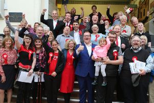 The newly-elected High Peak Labour councillors and their supporters celebrate after the count. Photo: Jason Chadwick.