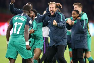 Tottenham Hotspur players celebrate their comeback win over Ajax. Picture by PA