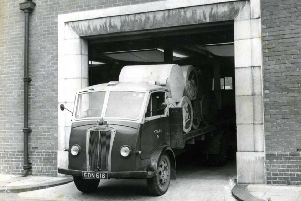A lorry leaves the Shields Gazette office.
