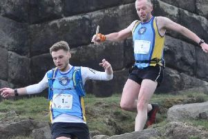 Michael King and Steve Sladdin of Halifax Harriers on the Calderdale Way relay