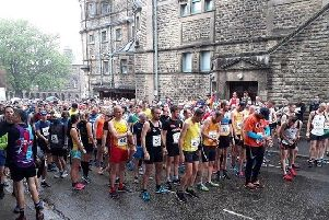 Runners line up for the start of the Buxton half marathon.