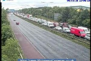 The scene at junction 24 of the M60 this morning.