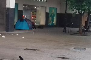 A new development in Harrogate's street begging/rough sleeping situation - Tents arrive in Harrogate. This one is located at the back of a shop on Oxford Street.
