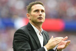 ASTON VILLA v DERBY COUNTY;Championship Play-Off Final;SkyBet;'27/05/2019 3.00pm KO; Wembley Stadium;'Howard Roe/Ahpix.com''Derby's manager Frank Lampard  applauds the Rams fans after the game