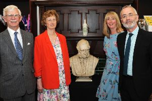 Jill Grice and Bridget Marshall pictured with Jim Harker from the National Lottery Heritage Fund, left, and James Berresford, the chairman of the Trust, after unveiling the bust of the Duke of Devonshire.