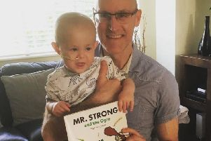 Paul Swainton with two-year-old Felix, who has inspired an epic charity challenge.
